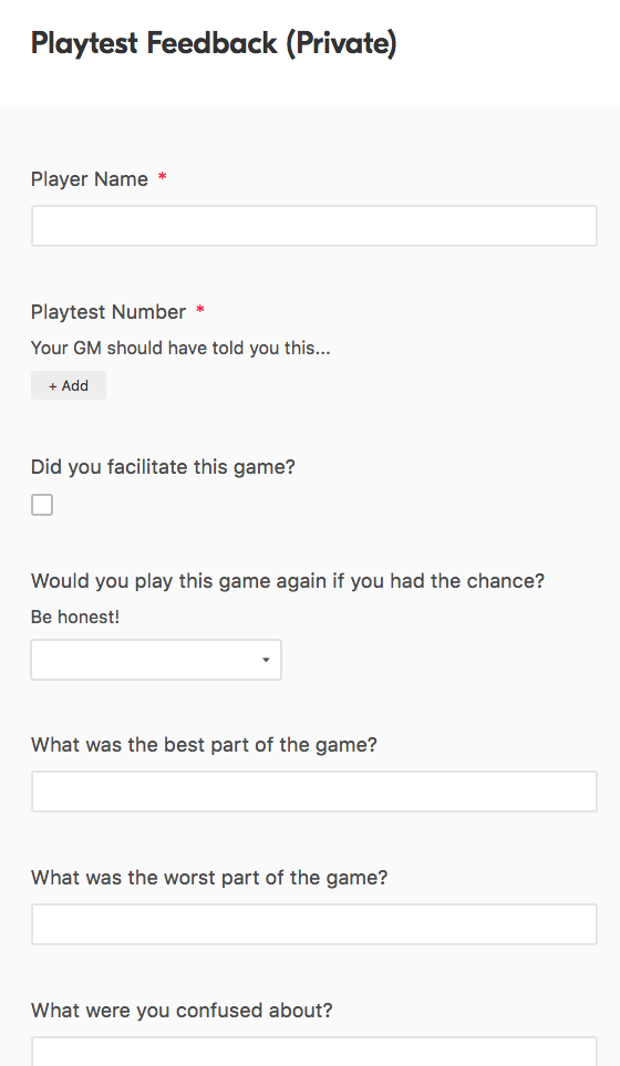 the playtest template's feedback form