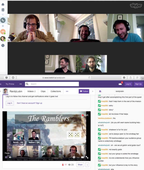 screenshot of the skype and twitch windows we used for the rpg livestream