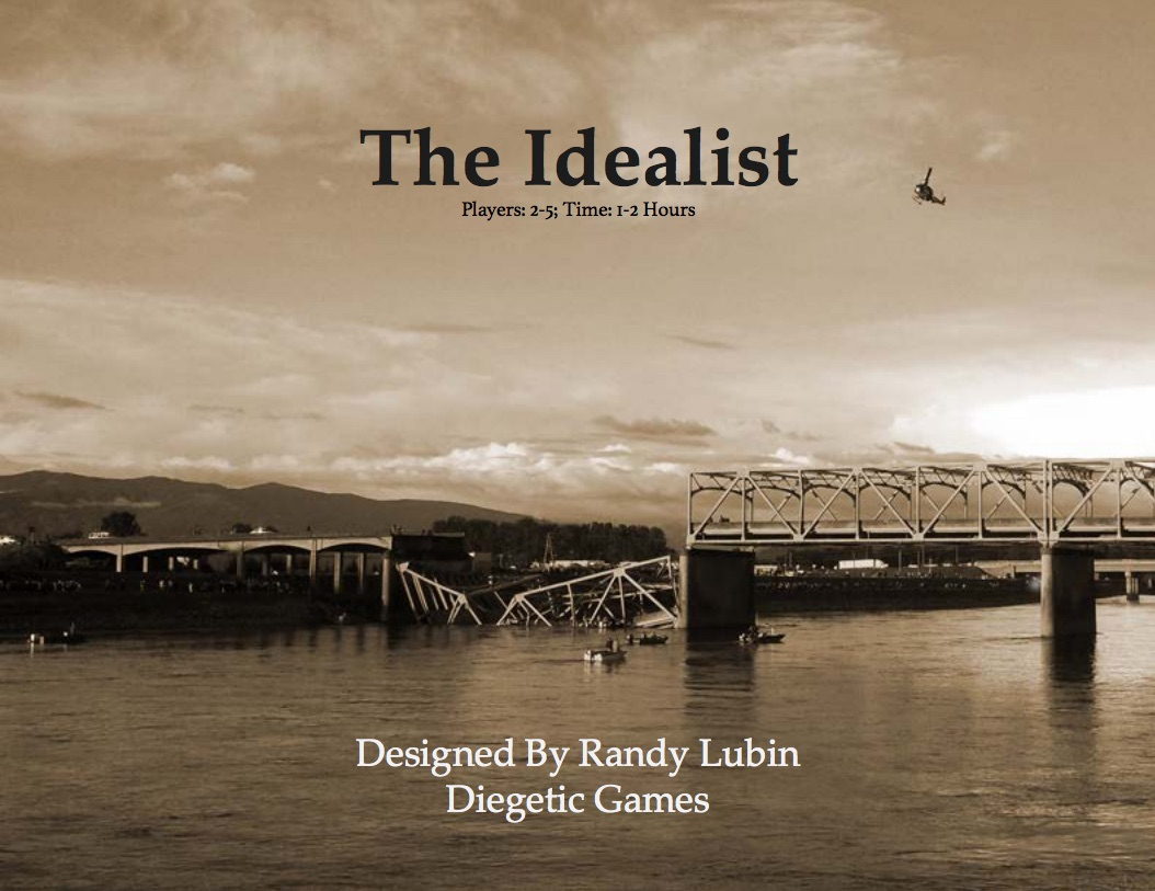 The cover of The Idealist - a bridge collapsed into a river