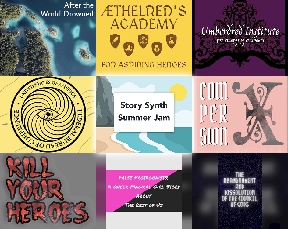 gallery image of game submissions to the story synth summer jam